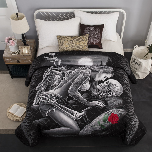 Europe Skull Beauty Coverlet Bed Decoration Quilted Washable Bedding  Bedspread Bed Cover Summer Quilt Bedspreads 230*230 Cm Bedroom Bedding  Quilt ...