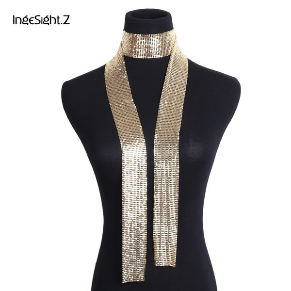 IngeSight.Z Vintage Aluminium Net Choker Necklace Collar Statement Colorful Sequins Long Chain Necklace Scarf for Women Jewelry