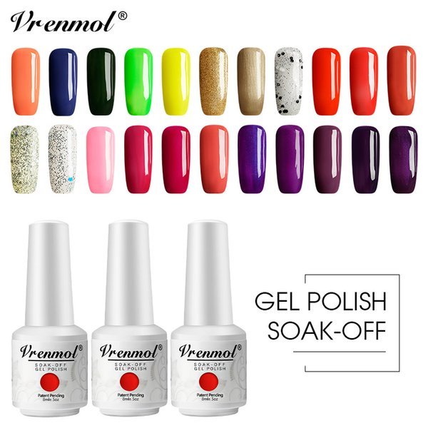 Vrenmol 58 Colors French Nude Nail Polish Nail Art Tips UV Gel Lacquer Hybrid Sugar Gel Varnishes Need Top Base Coat Primer