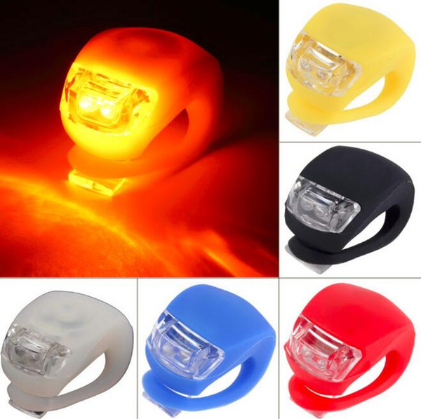 top popular Silicone Bike Lights 2LED Cycling Bike Bicycle Light Rubber Tail Light Front Rear Flash Warning Light Lamp Headlamp Silicone lights 2021