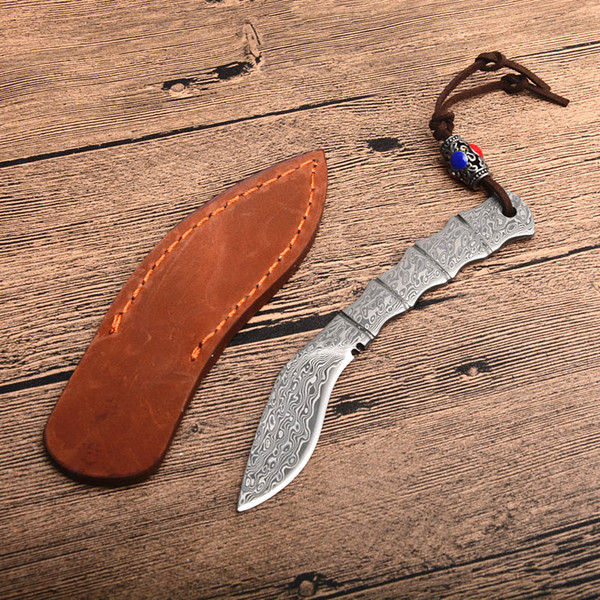 Hot Sale! New Dog Leg Shape Small Damascus Fixed Blade Knife Damascus Steel Blade Full Tang Handle Knives With Leather Sheath