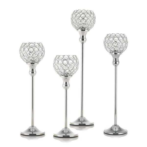 Pair Silver Crystal Vintage Candle Holders Stand Metal Candlesticks Wedding Table Centerpieces Valentines Day Home Decoration