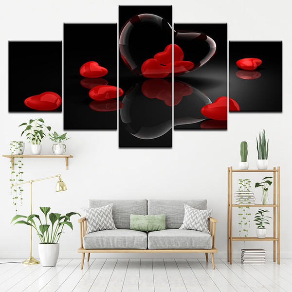 Canvas Paintings Modular Living Room Wall Art 5 Pieces Red Heart-Shaped Pictures HD Prints Love Poster Romantic Home Decor Frame