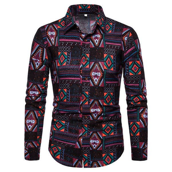 Ethnic Style Floral Shirt Europe Man Big Size Tops 5XL Loose Fit Business Casual Blouse Long Sleeve 2019 New Arrival Linen Shirt