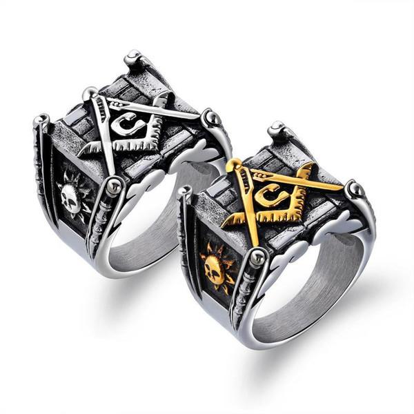 Latest new fashion high quality retro antique silver gold men 's masonic AG symble silver & gold smile sunface freemason rings for men women