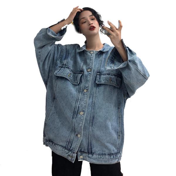2019 Spring Loose Long Denim Jacket For Women Turndown Collar Harajuku Bf Vintage Jean Jacket Autumn Jeans Jacket SH190816