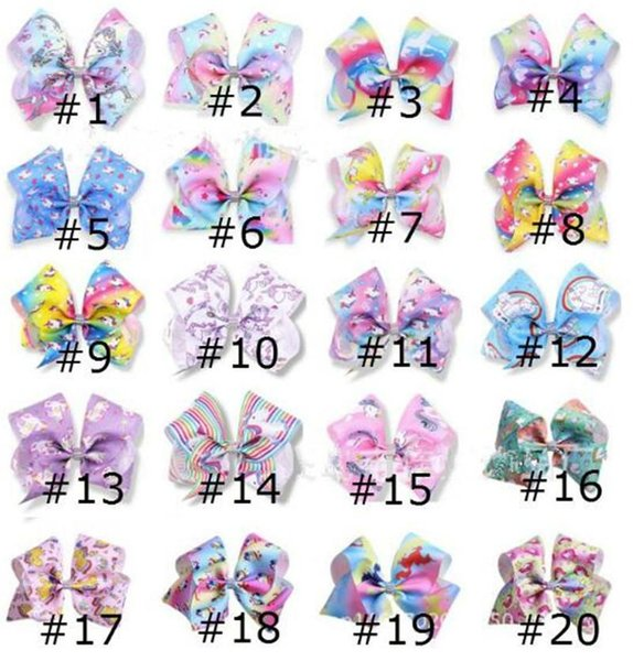 12 adet 8 Inç Unicorn Jojo Yaylar Unicorn Doğum Günü Parti Malzemeleri Timsah Klipler Jojo Yay Unicornio Baskılar Saç Yaylar Unicorn Parti Favor