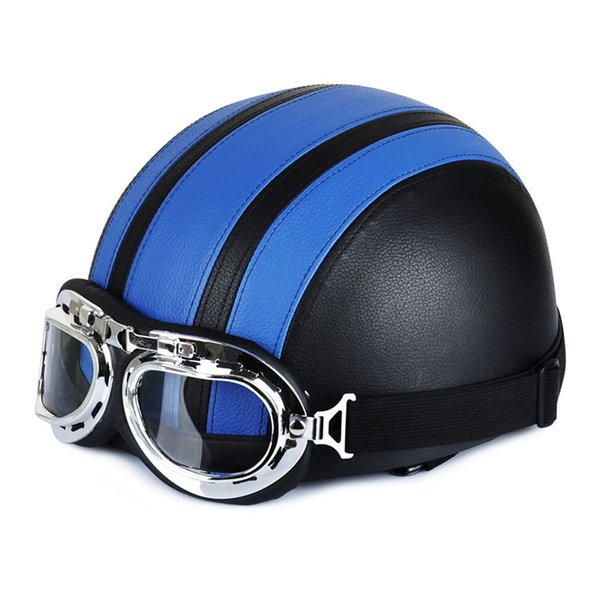 Hot Motorcycle Helmet With Shield Goggles Neck Scarf Street Bike PU Leather Half Helmets for Men Women JLD