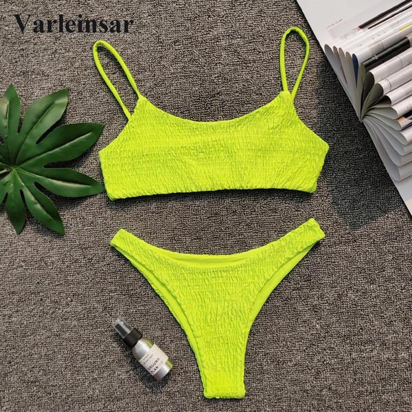 New Sexy Neon Verde Enrugada Biquíni 2019 Feminino Swimsuit Mulheres Swimwear Two-pieces Bikini set Banhista Maiô Nadar V713G