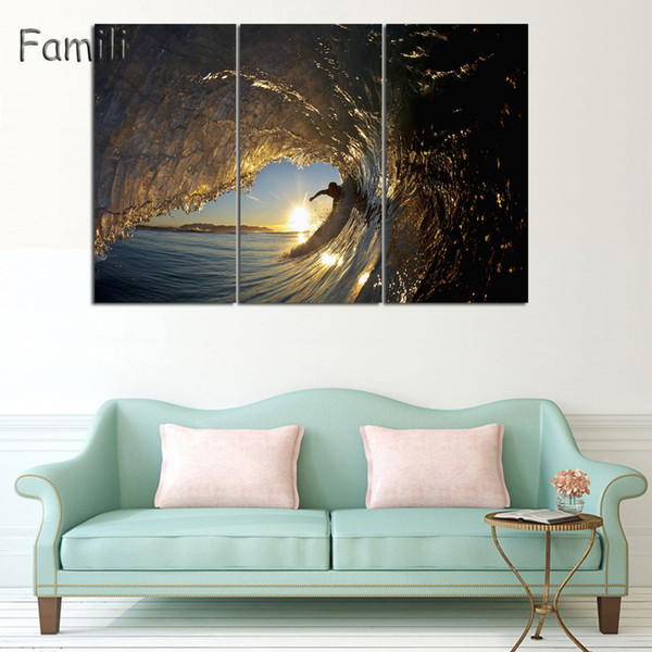 3 Pieces/set Printed Surfing Group Painting Wall Art Children'S Room Decor Print Poster Picture Canvas Painting No Frame