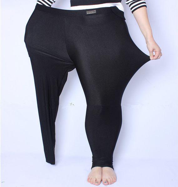 150 kg Fit Yağ Mm Artı Boyutu Kadın Sonbahar Siyah Yüksek Bel Naylon Tayt Pantolon Yüksek Elastik Streç Malzeme Xl-5xl