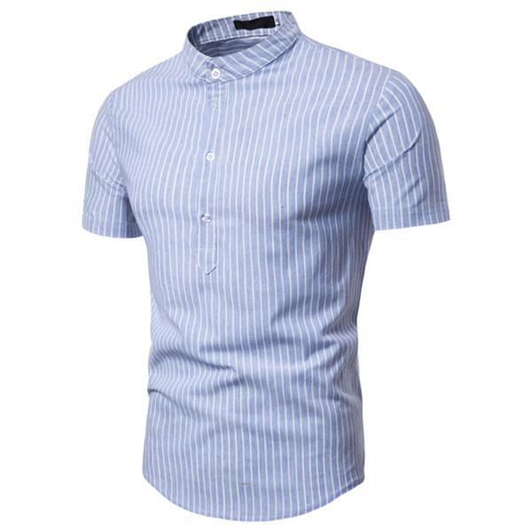 Short Sleeve Striped Shirts Men Slim Fit Shirt Casual Male 2019 Fashion Summer Male Casual Shirt Stand Collar Tops Men HN45