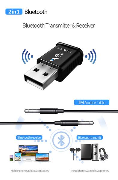 2 en 1 USB Bluetooth Receptor Transmisores 5.0 Adaptador de audio de música estéreo inalámbrico Dongle para TV PC Bluetooth Altavoz