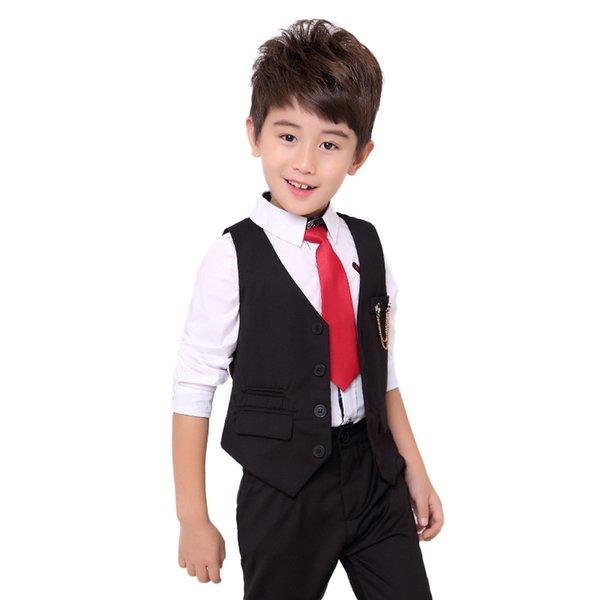 c4ef9d4c52 Boys Formal Wedding Clothing Sets Kids Vest Pants 2pcs Suits Sets Children  Party Performance Dresses Costume