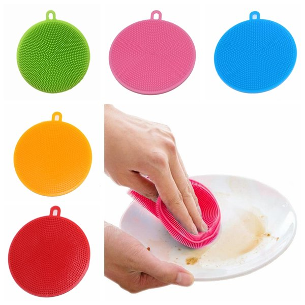Multifunction Silicone Bowl Cleaning Brush Colorful Magic Cleaning Pot Brush Scouring Pad Pan Wash Brushes Kitchen Cleaning Tools TTA781