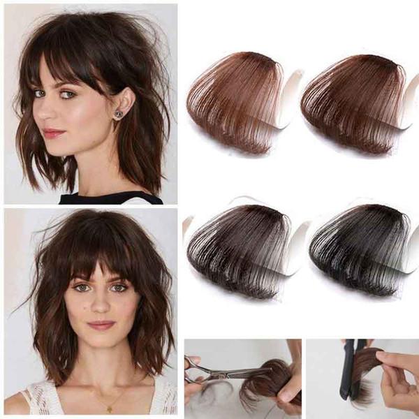 İnsan Saç Patlama Koyu Kahverengi Klip Tapınak Olmadan Ince Düzgün Saçak Hava Patlama Restyle Saçak Saç