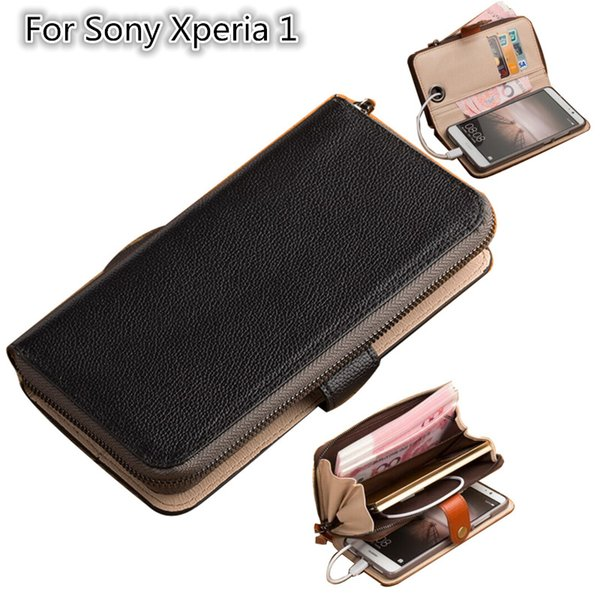 Multifunktionale Handytasche für Sony Xperia 1 Handytasche für Sony Xperia 1 Geldbörse mit Kartenhalter stehen coque