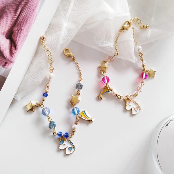 Sommer Mode Japanisch und Koreanisch Cartoon Schmuck Zubehör Schöne Mädchen Frauen Kreative Perlen Einhorn Sterne Armband