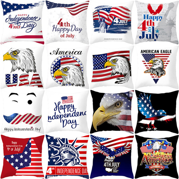 top popular 27styles American Independence Day Pillow Case Sofa Cushion Cover Home Decor Seat Pillowcase America Flag Throw Pillow Cover 45*45cm FFA2067 2021