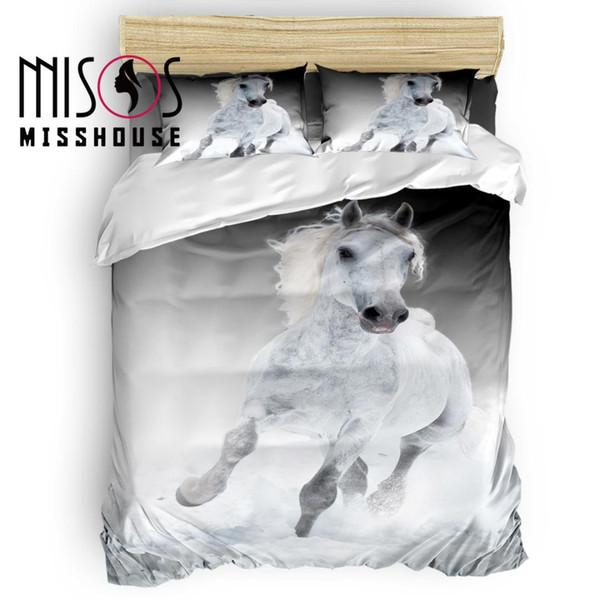 MISSHOUSE White Horse Animal Funda nórdica Juego de sábanas Funda de edredón Fundas de almohada 4 piezas Juegos de cama
