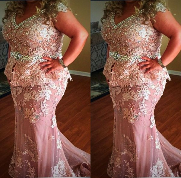 2019 Sexy Mother Of The Bride Dresses Mermaid V Neck Cap Sleeves Lace Appliques Beaded Plus Size Evening Gowns Wear Wedding Guest Dress