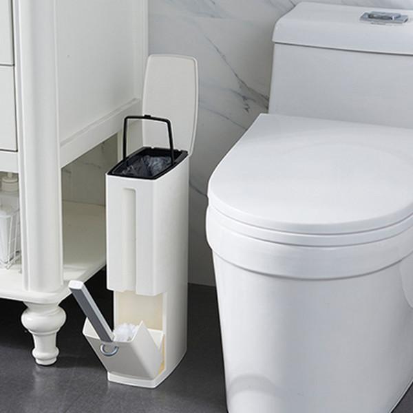Baffect Narrow Bathroom Trash Bin Trash Can Zero Waste Bin Toilet Brush Garbage Bag Holder Plastic Dustbin ZJ0251
