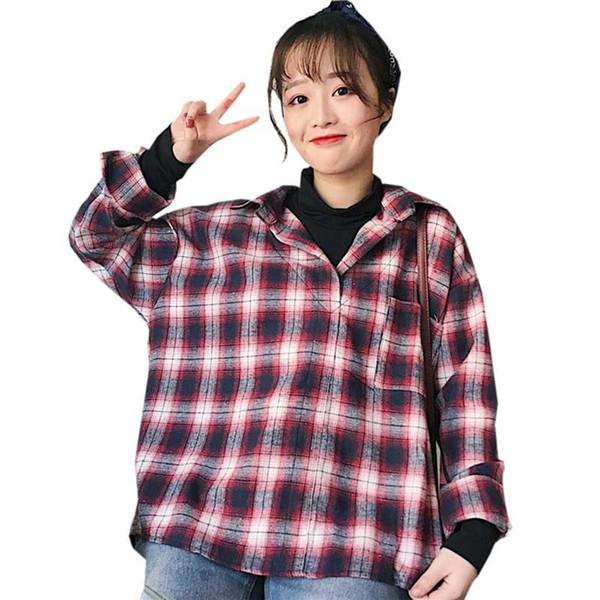 Vintage plaid femmes chemisiers mode patchwork faux deux pièces en vrac chemises occasionnels femme col roulé à carreaux Tops Blouses Re0343