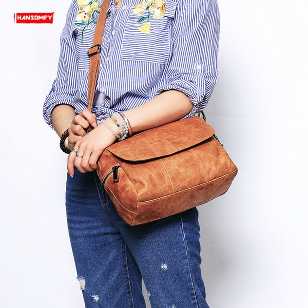 2019 New first layer cowhide women's handbag simple fashion shoulder bag ladies soft genuine leather messenger crossbody bags