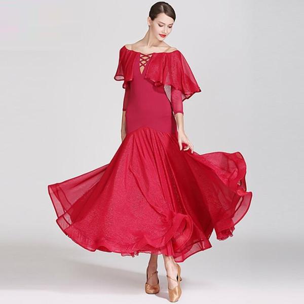 Mulheres adultas salão de baile vestido moderno feminino nacional padrão vestidos de dança valsa Professional desempenho de dança vestidos desgaste H2486