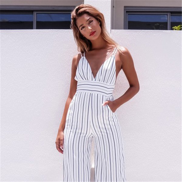 White Striped Deep V-Neck Jumpsuits Women Summer Beach Sexy Strap Sleeveless Long Rompers Playsuits Backless New 2018 Overalls