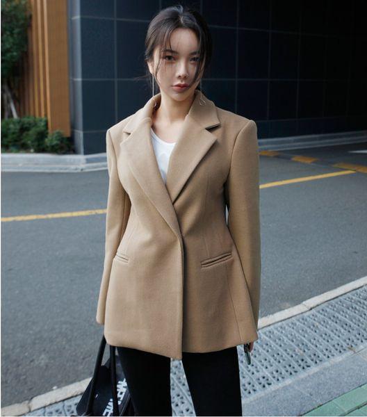 SuperAen 2018 Winter Wool Women Jacket Solid Color Long Sleeve Wild New Ladies Suits Jacket Korean Style Women Clothing