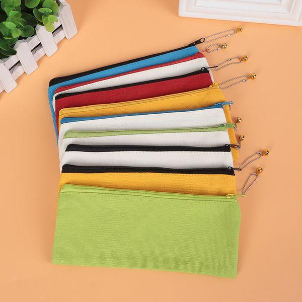 Blank Canvas Zipper Pencil Cases 20*8.5CM Plain Pencil Bags Pouches Stationery Case Clutch Organizer Bag Gift Storage Bags Purse GGA2258