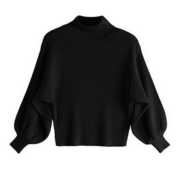 2019 New Stylish loose-fitting bat-type sweater solid color turtleneck bubble sleeve pullover sweater long-sleeved ladies sweater