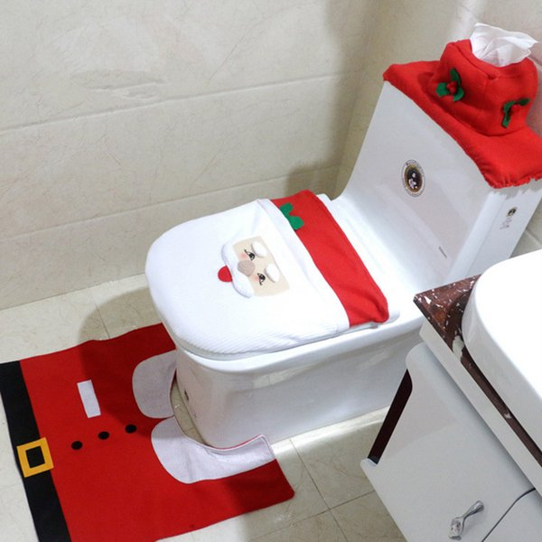 Santa Claus Bathroom Set Toilet Cover And U Rugs For Home Hotel Christmas Decoration Diy Toilet New Year Decor Navidad Decorating Your Home For