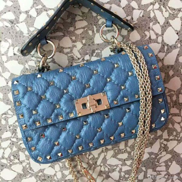 New genuine leather fashion handbag diamond lattice metallic black very special cow leather print full starts evening small blue bag OL 20cm