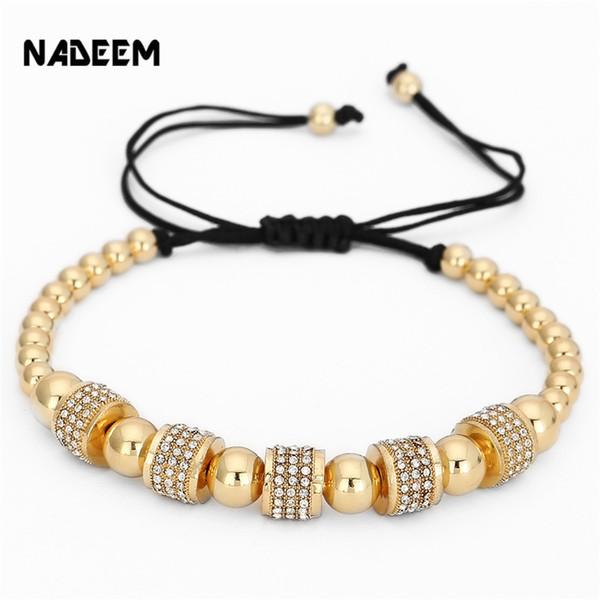 Fashion Gold Color Full Cz Charm Anil Arjandas Bracelet Micro Pave Setting Czech Braiding Men Women Macrame Bead Bracelet