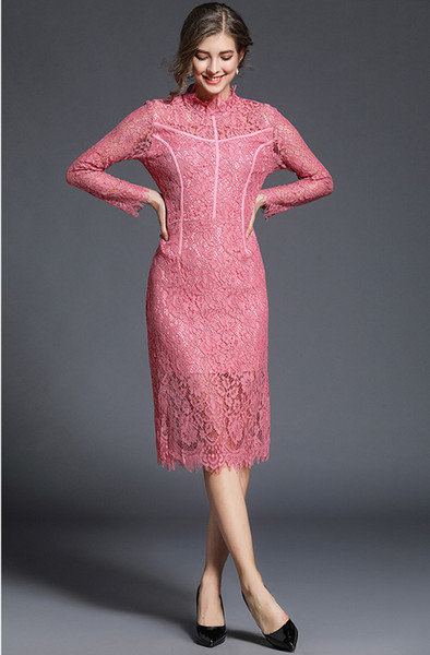 Fashion Mermaid 2019 Spring Autumn Pink Green Lace Dress Women Vintage Corchet Cut out Flower Hollow Out Medium Long Sleeve Sexy Midi Dress