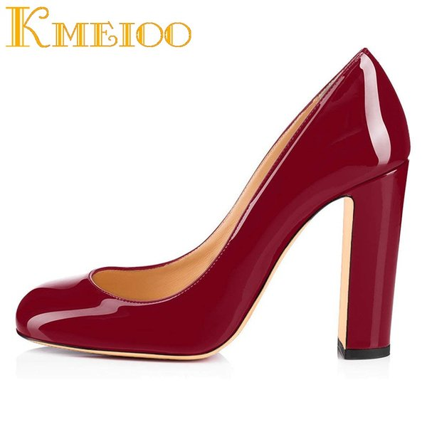 Kmeioo Womens High Block Heel Courts Chaussures Pompes à bout rond Slip on Basic Chaussures Sandales Fermées Toe Party # 37574