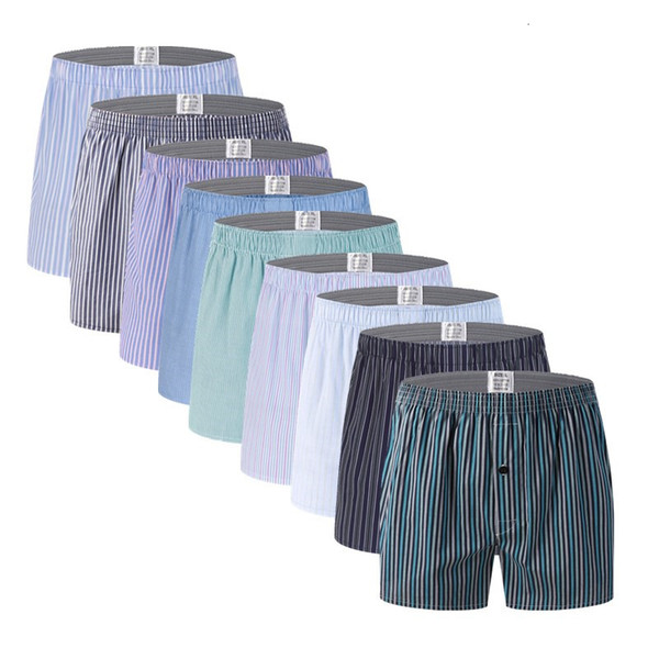 10pcs Classic Striped Men Boxer Shorts Loose Woven Arrow Panties Cotton Cuecas Boxers Underwear for Men Calzoncillos HombreMX190904
