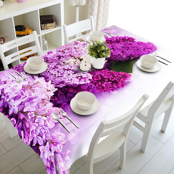 Senisaihon Mantel 3D Púrpura Lila Patrón de flores Poliéster a prueba de polvo paño de tabla Cena de Navidad Decoración cubierta de tabla