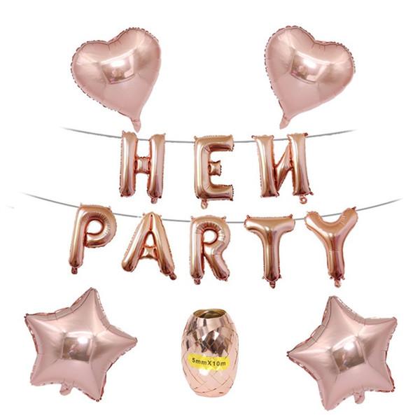 Hen Party Letter Balloon Rose Gold Bachelorette Parties Decoration Star Heart Shape Aluminum Film Fashion Creattive Balloons Suit 6mxD1