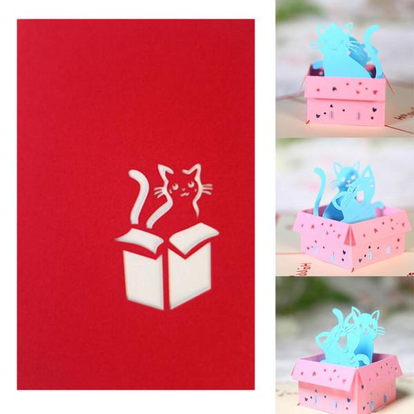 3D Cartoon Cat Holiday Grußkarte Cat Box Weihnachten Thanksgiving Geburtstagsgeschenk Papier Einladung Grußkarten
