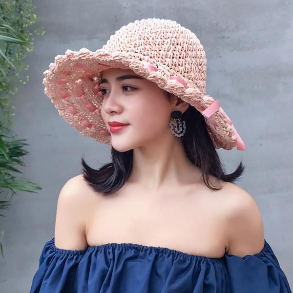 Wide Brim Foldable Floppy Rafia Straw Sun Hats for Women Girls Summer Beach Hat UV Protection Adjustable Fisherman Outdoor Caps