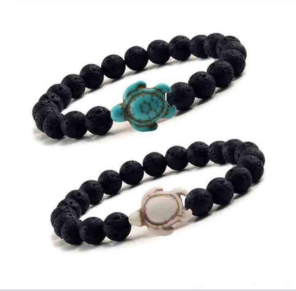 8 millimetri nero lava pietra turchese braccialetto di perline Sea Turtle Bracciale diffusore olio essenziale Per gli uomini i monili delle donne