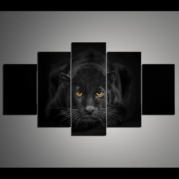 5 панель HD печатных холст искусство Черная Пантера живопись красивый дом декоративные стены искусства плакат картина для гостиной произведения искусства