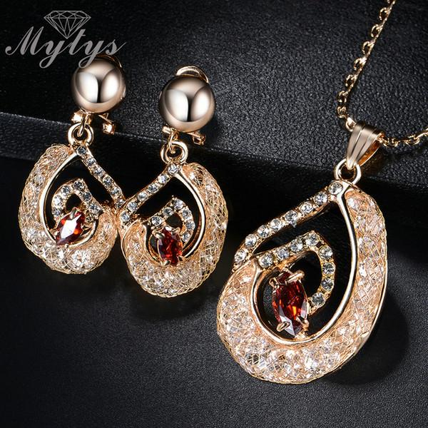 vente en gros haut niveau filet de tube en tube rempli de bijoux en cristal ensembles de boucles d'oreilles et de pendentif collier CN294