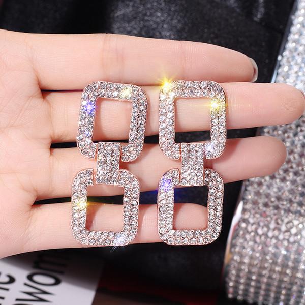 S925 silver needle exaggerated full diamond crystal geometric rectangular dangle earrings woman temperament simple long earrings