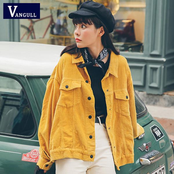 Vangull Nuevo 2019 mujeres chaqueta de bombardero con pana bolsillos chaqueta del algodón de las mujeres abrigos básico con estilo Slim Fit Moda Prendas Y190919