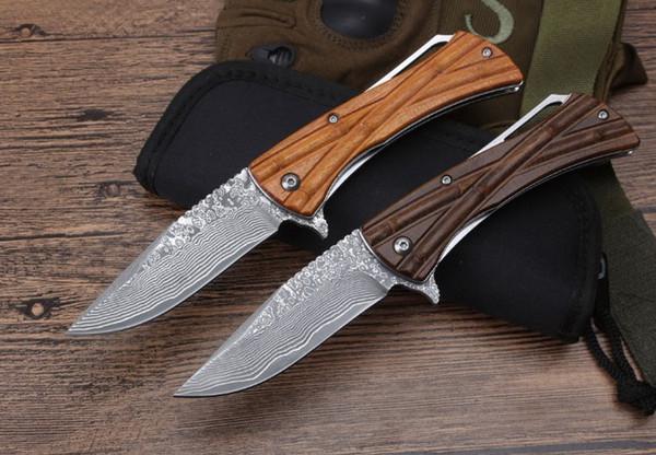 Damasco cuchilla de bambú rodamiento de bolas CNC táctico autodefensa plegable edc cuchillo camping cuchillo caza cuchillos regalo de navidad a1830 Adco