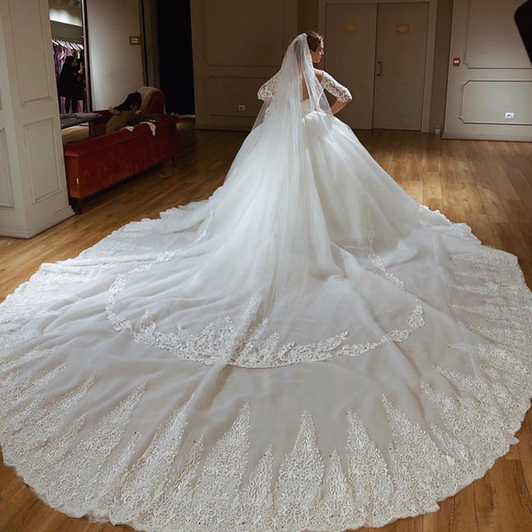 2019 Gorgeous Sweetheart Arabic Dubai Princess Ball Gown Wedding Dresses 1/2 Sleeves Applique Chapel Train abito da sposa vestido de novia